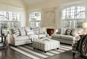 New Gray Linen Texture Fabric Living Room Furniture 2 Piece Sofa Couch Set Ige5