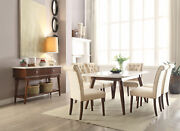 Modern Brown 7 Pieces Dining Room Set Rectangular White Marble Table Chairs Iacq