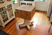 Antique Butcher Block Island With Custom Rolling Base