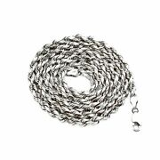 14k White Gold 5mm Solid Diamond Cut Rope Chain Necklace With Lobster Lock
