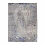 7and0399x10and0393 Abstract Design With Soft Blues Wool And Silk Hand Knotted Rug G58026