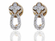 0.69 Cts Round Brilliant Cut Natural Diamonds Stud Earrings In 585 Fine 14k Gold