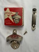 Vintage Open Bottle Here Starr X Opener W/box And Budweiser Opener Bottle/can