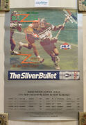 """Vtg New England Blazers 1991 Pro Lacrosse Poster Schedule 27"""" X 19"""" Coors Light"""