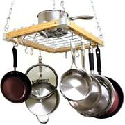 Cooks Standard Pot Rack 23.5x18 In Ceiling Mounted Wooden Chains Modern 26 Hook