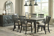 Cottage Rustic Black And Brown 7 Pieces Dining Room Kitchen Table Chairs Set Ic0o