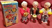 3 Old Toy Wind Up Tin Musical Clowns Drum Cymbals Moroccos And 1 Box Vintage Litho