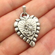925 Sterling Silver Vintage Swift And Fisher St. Mary Baby Jesus Religious Pendant