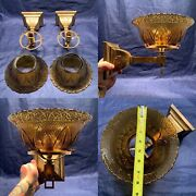 Antique Brass Mission Gas Sconces Converted To Electric 8andrdquo Shades Rare 97d