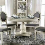 Transitional Antique White Dining Room 5 Piece Round Table And Gray Chairs Set Cde