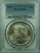 1924 Peace Silver Dollar 1 Coin Pcgs Ms-64 Toned 29 A