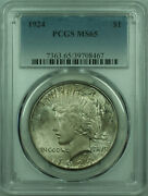1924 Peace Silver Dollar 1 Coin Pcgs Ms-65 Lightly Toned 29 A