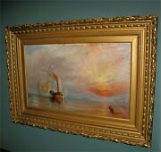 Antique English Oil Painting Tug Boat Impressionist 1800and039s