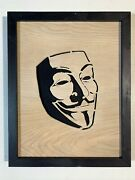 Unique V For Vendetta Anonymous Mask Hand Made Wood Art Ready To Hang