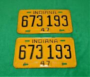 🔥vintage 1947 Indiana License Plate Front Rear Number 673 193 Chevy Ford Dodge