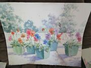 Signed Original Watercolor By Peg Humphreys, Pansies In Square Pots 22x 27