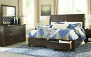 New Contemporary Brown Finish Bedroom Furniture - 5pcs Queen Storage Bed Set A0n