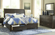 New Contemporary Brown 5 Piece Bedroom Set W/ King Size Platform Storage Bed A0n