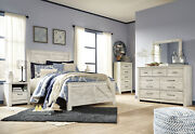 Modern Style Cottage White Bedroom Furniture - 5pcs Queen Size Panel Bed Set A1d