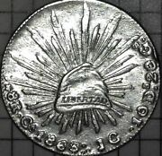 1863 Mexico Ca Jc 8 Reales Silver Coin