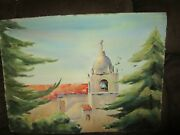 Signed Original Watercolor By Peg Humphreys, Carmel Mission And Ocean 30x 22