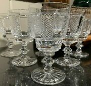 6 Waterford Crystal 5 1/4 Hibernia Claret Wine Glasses Ireland - Excellent