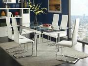 Modern Rectangular Glass Top Table And White Chairs - 7 Piece Dining Room Set In70