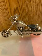 Motorcycle Handcrafted Metal Collectible Made With Nuts Pistons Bearings Nwot