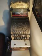 Antique Brass National Cash Register Model 312 Great Working Condition