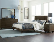 Contemporary Brown Oak Finish 5pcs Bedroom Set Furniture W/ Queen Size Bed Ia46