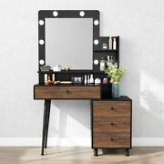Vanity Table With Lighted Mirror Dresser Table With Drawer And 3-drawer Chest