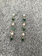 Lovely Pair Of Elegant Pearl And Beveled Green Glass Pierced Earrins On Studs