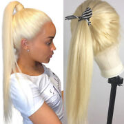 Blonde 100 Real Brazilian Human Hair 360 Lace Frontal Wigs For Bun Ponytail P53