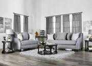 New Living Family Room Furniture Gray Fabric 2 Piece Sofa Couch Loveseat Set Rdd