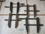 Antique Wooden Furniture Wood Clamp Hand Screw Woodworking Vise Tools Lot Of 4
