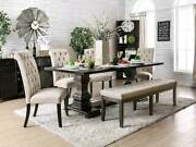 6 Piece Dining Room Furniture Set - Rectangular Black Table And Beige Chairs Iccg