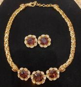 Vintage Christian Dior Gold Plated Amethyst Crystal Necklace And Earrings Set