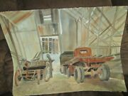 Signed Original Watercolor By Peg Humphreys, Antique Truck Perfect For Car Execu