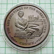 Isle Of Man 2002 Crown, Queen Mother - Castle Of Mey, Toned Unc In Capsule