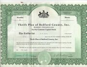 Thrift Plan Of Bedford County Stock Certificate No 4 50 Shares