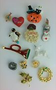 Costume Jewelry Pin Brooch Lot Christmas Thanksgiving Halloween Vintage