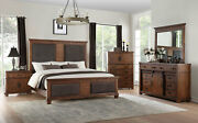 Transitional Brown Wood 5 Piece Bedroom Suite W/ Queen Upholstered Bed Set Iab8