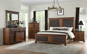New Transitional Cherry Brown And Fabric Bedroom Furniture - 5pcs King Set Iab8
