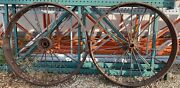 """Pair Vintage Iron Steam Engine Tractor Drive Wheels 45"""" Tall Tires Steel"""
