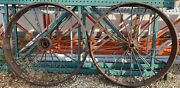 Pair Vintage Iron Steam Engine Tractor Drive Wheels 45andrdquo Tall Tires Steel