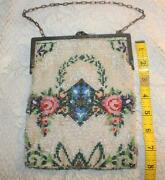 Antique Victorian Germany Micro Beaded Floral Design Metal Frame Purse