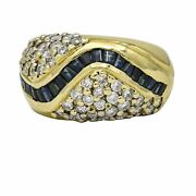 Diamond Sapphire Band Ring In 14k Yellow Gold 1.25 Ct Tw