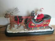Santa W/ Sleigh And Reindeer Holiday Creations Play A Medley Of Songs 1995