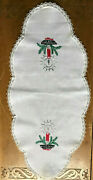 Hand Embroidered Christmas Candle 28 Table Runner Holiday Decorations