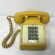 Vtg Pacific Telephone Touch Tone Yellow Phone For Parts Not Working Push Button